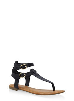Ankle Strap Thong Sandals - BLACK - 3110004066291