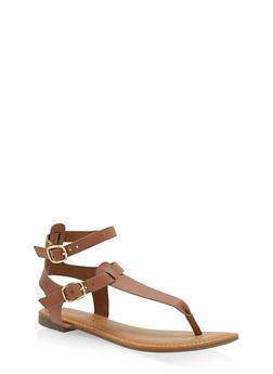 Ankle Strap Thong Sandals - TAN - 3110004066291