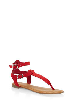 Ankle Strap Thong Sandals - RED - 3110004066291