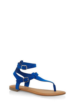 Ankle Strap Thong Sandals - BLUE - 3110004066291