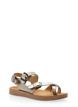 Faux Leather Toe Ring Footbed Sandals - 3110004066302