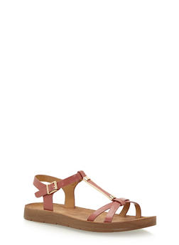 Faux Leather T Strap Sandals with Metal Detail - 3110004066303