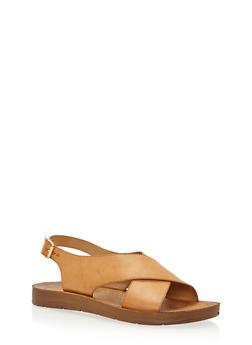 Cross Strap Faux Leather Sandals - 3110004066304