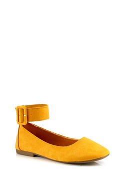 Square Toe Ankle Strap Flats - YELLOW S - 3110004066853