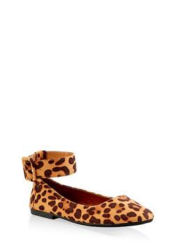 Square Toe Ankle Strap Flats - LEOPARD PRINT - 3110004066853
