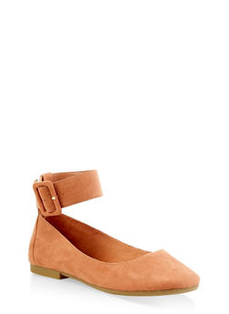 Square Toe Ankle Strap Flats - 3110004066853