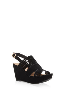 Faux Suede Laser Cut Wedge Sandals - BLACK - 3110004067286