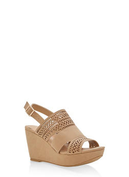 Faux Suede Laser Cut Wedge Sandals - NATURAL - 3110004067286