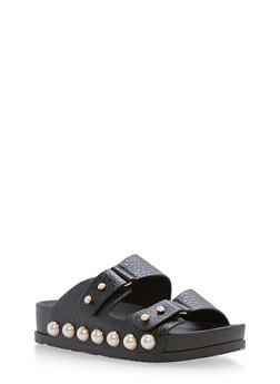 Faux Pearls Double Strap Slide Sandals - BLACK - 3110004067421