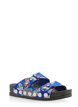 Faux Pearls Double Strap Slide Sandals - BLUE FABRIC - 3110004067421