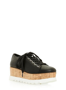 Lace Up Shoes with Corkscrew Platform Detail - 3110004067594