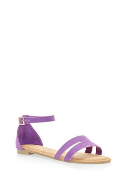 Cut Out Band Ankle Strap Sandals - 3110004067751