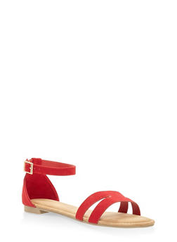 Cut Out Band Ankle Strap Sandals - RED - 3110004067751