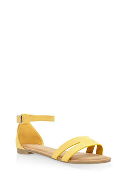 Cut Out Band Ankle Strap Sandals - YELLOW - 3110004067751