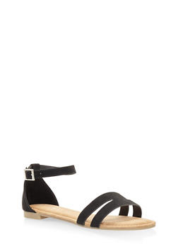 Cut Out Band Ankle Strap Sandals - BLACK SUEDE - 3110004067751