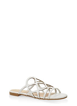 Laser Cut Slide Sandals - WHITE - 3110004067752