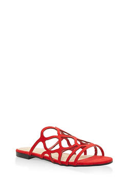 Laser Cut Slide Sandals - RED - 3110004067752