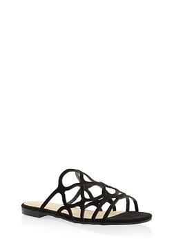 Laser Cut Slide Sandals - BLACK SUEDE - 3110004067752