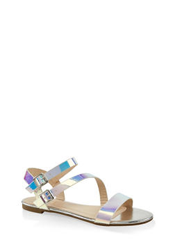 Double Buckle Asymmetrical Sandals - 3110004067755
