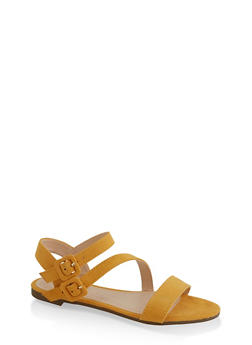 Double Buckle Asymmetrical Sandals - 3110004067755