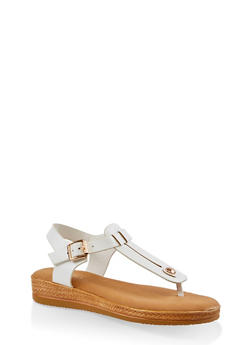 Cut Out Thong Sandals - WHITE - 3110004068278
