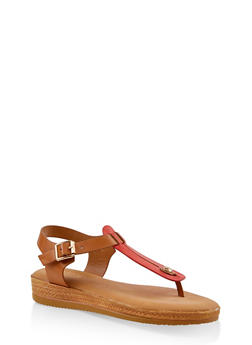 Cut Out Thong Sandals - RED - 3110004068278