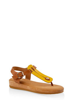 Cut Out Thong Sandals - YELLOW - 3110004068278