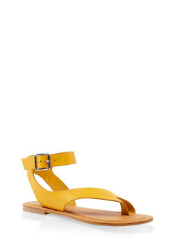 Asymmetrical Toe Ring Buckle Strap Sandals - 3110004068484