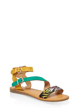 Asymmetrical Double Ankle Strap Sandals - 3110004068487