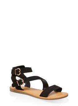 Asymmetrical Double Ankle Strap Sandals - 3110004068487
