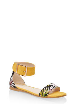 Buckle Ankle Strap Single Band Sandals - YELLOW S - 3110004069382