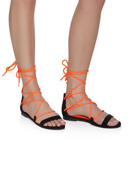 Neon Ankle Lace Up Sandals - NEON ORANGE - 3110004069383