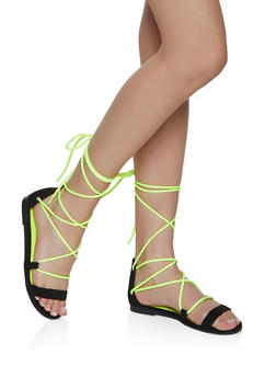 Neon Ankle Lace Up Sandals - NEON YELLOW - 3110004069383