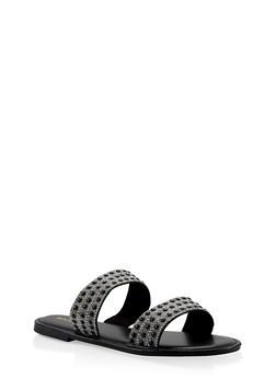 Beaded Rhinestone Double Band Slide Sandals - BLACK - 3110014062628
