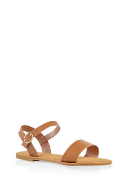 Buckle Strap Sandals - TAN - 3110014062629