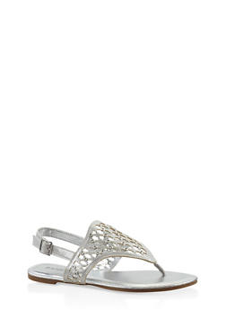 Laser Cut Grommet Studded Thong Sandals - 3110014062835