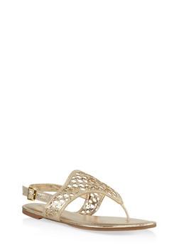 Laser Cut Grommet Studded Thong Sandals - GOLD - 3110014062835