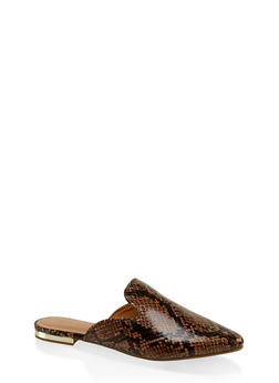 Pointed Flat Mules - BROWN PATENT - 3110014062964