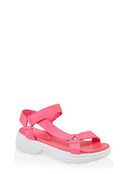 Sporty Velcro Strap Sandals - NEON PINK - 3110014063001