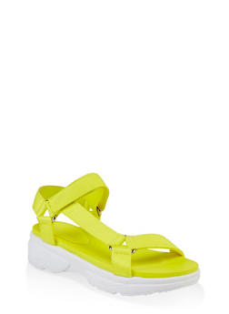 Sporty Velcro Strap Sandals - NEON YELLOW - 3110014063001