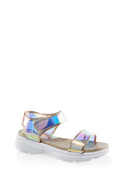 Metallic Velcro Ankle Strap Sporty Sandals - 3110014063002