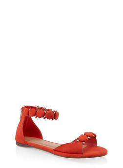 Studded Ankle Strap Sandals - ORANGE - 3110014064291