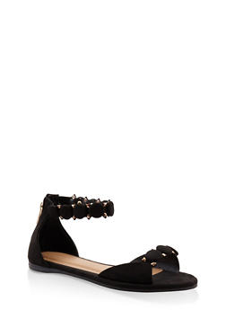 Studded Ankle Strap Sandals - BLACK SUEDE - 3110014064291