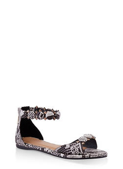 Studded Ankle Strap Sandals - BLACK MULTI - 3110014064291