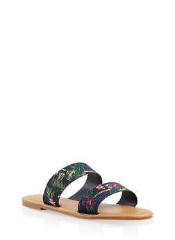Double Band Slide Sandals - BLACK - 3110014066278