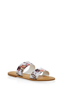 Double Band Slide Sandals - WHITE - 3110014066278