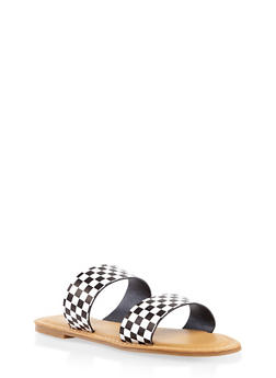 Double Band Slide Sandals - BLACK/WHITE - 3110014066278