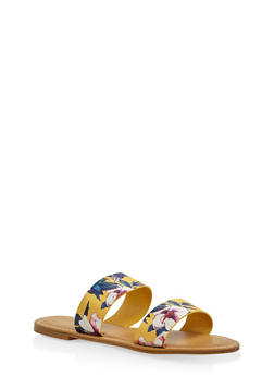 Double Band Slide Sandals - YELLOW - 3110014066278