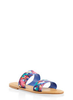Double Band Slide Sandals - BLUE - 3110014066278
