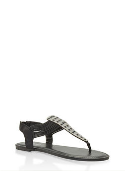 Faux Pearl Studded Thong Sandals - BLACK - 3110014067860